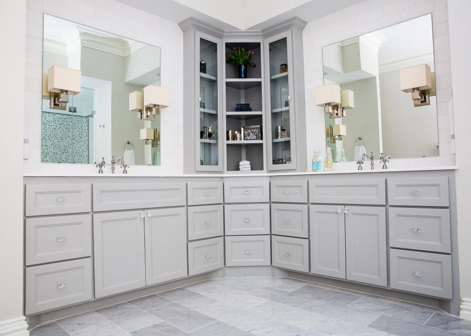 Master Bath with Custom Corner Cabinet