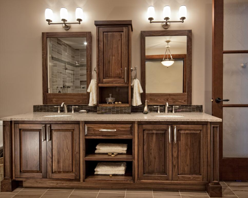 Unique Double Dark Wood Bathroom Vanities With Travertine Floors  Wood