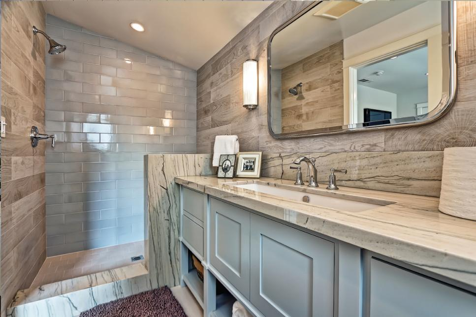 Rustic Meets Contemporary Master Bathroom