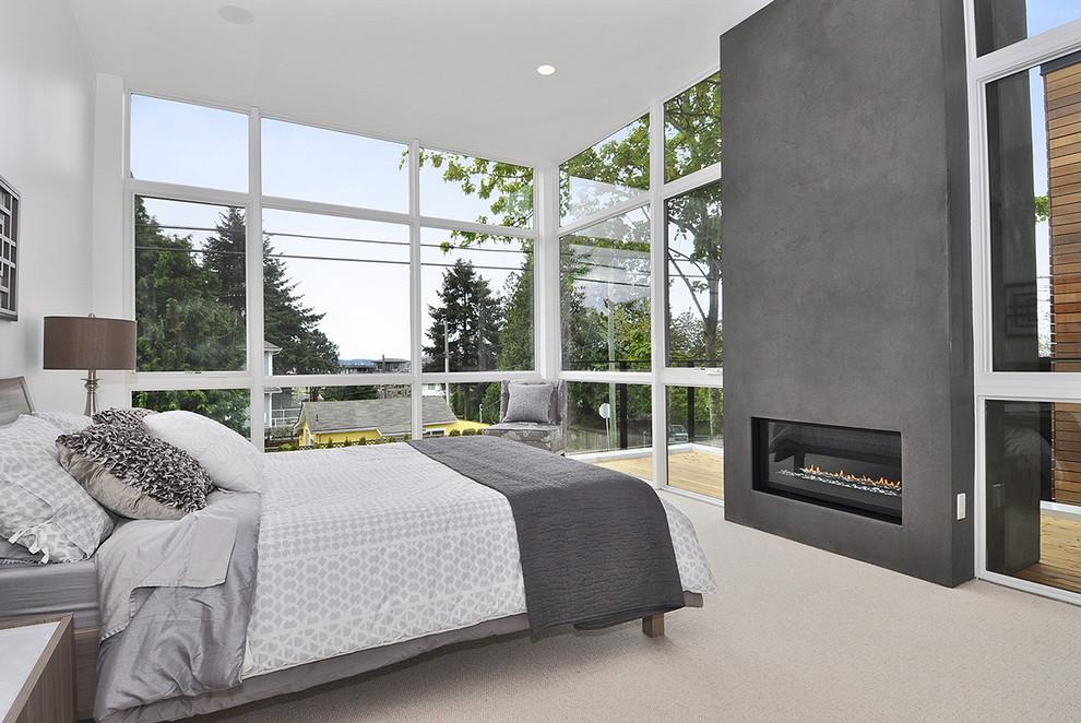 Italian Lime Plaster Fireplace Design for Bedroom