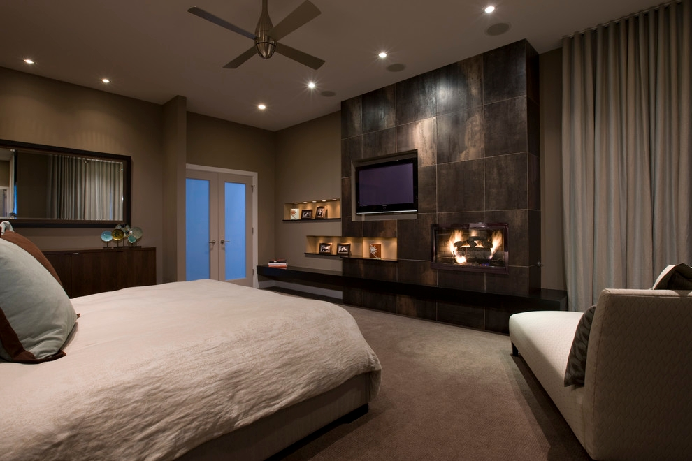 fireplace marbul design for dark bedroom