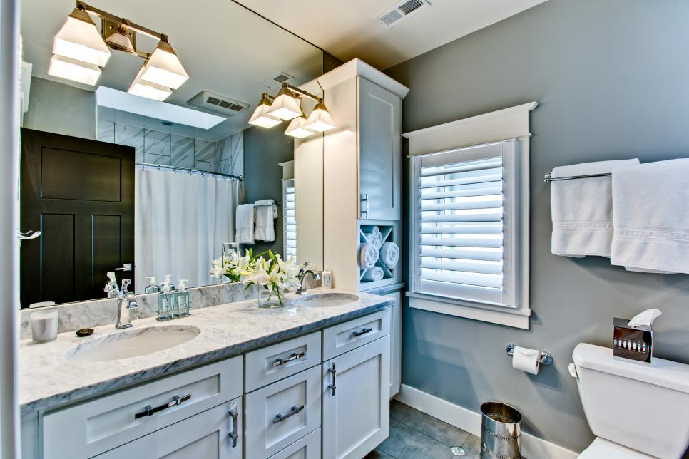 Transitional Gray Master Bathroom With Double Vanity
