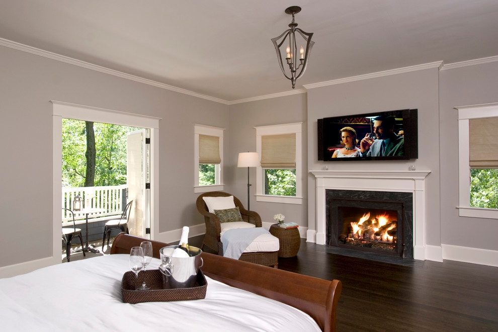 custom designed fireplace in bedroom