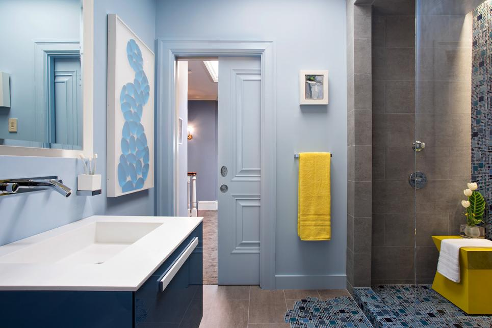 Blue Bathroom With Pooling Tile Design
