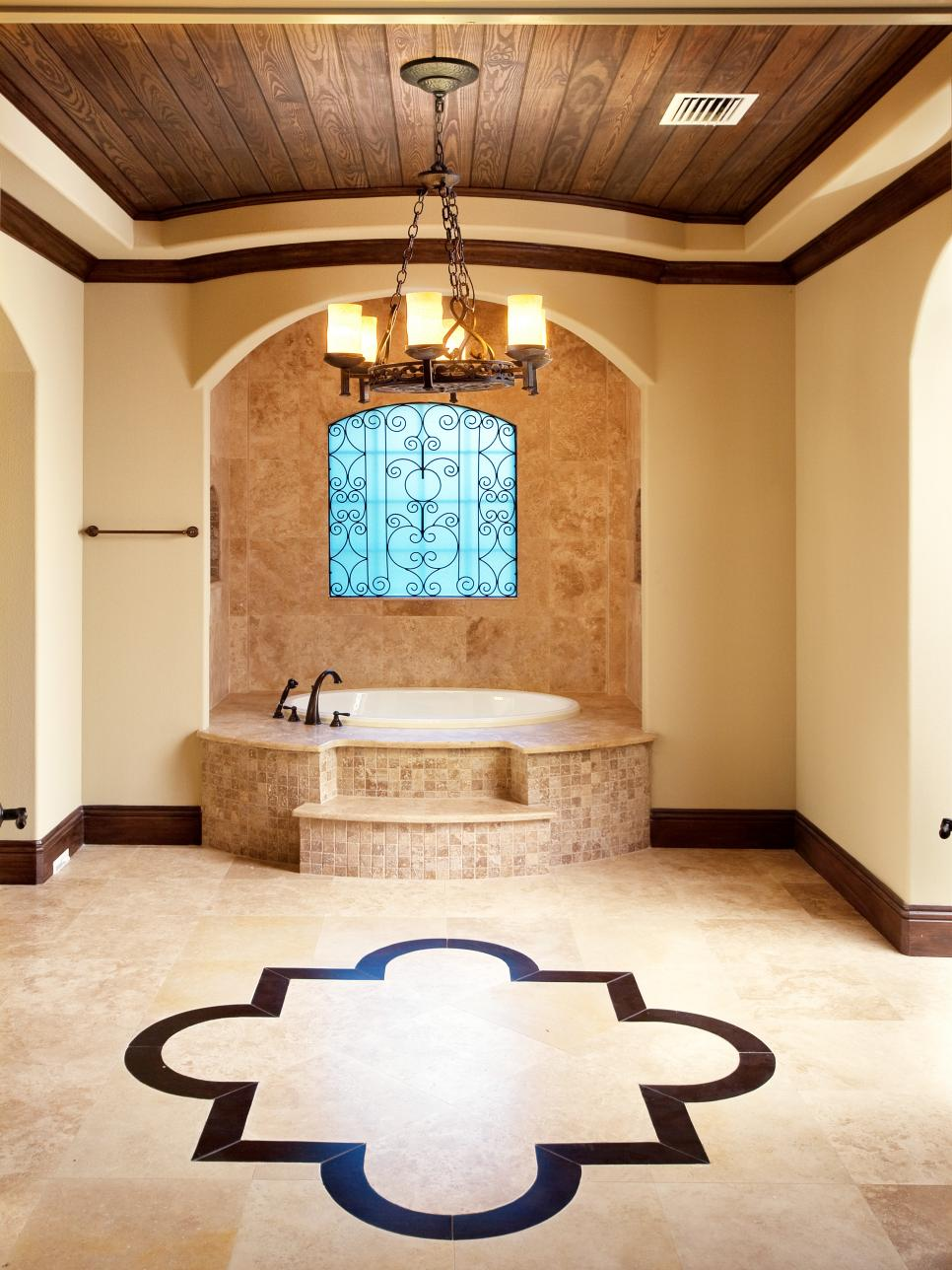Brown and Cream Master Bathroom With Wood Ceiling