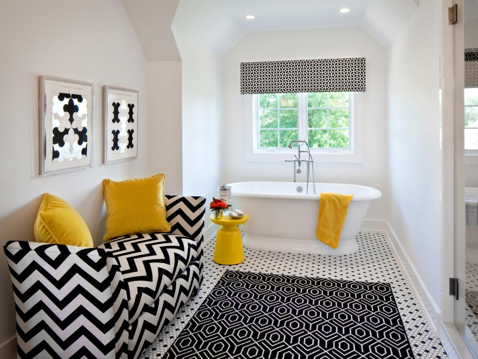 Black and White Textiles Bathroom with Pops of Yellow