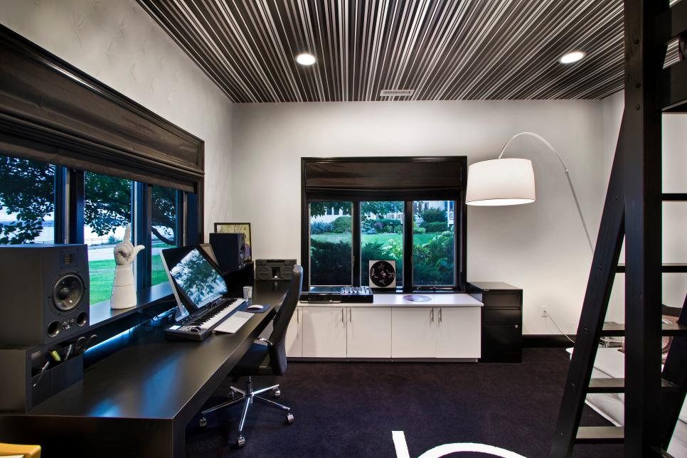 Modern Black and white Home Office with Striped Ceiling