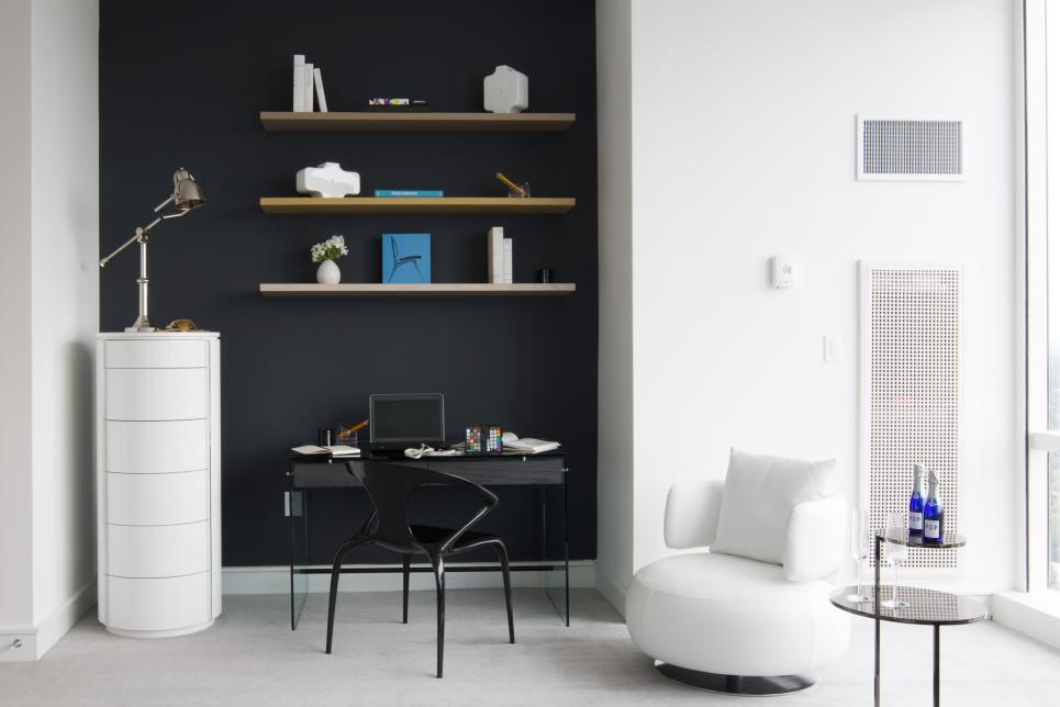 contemporary home office with white armchair