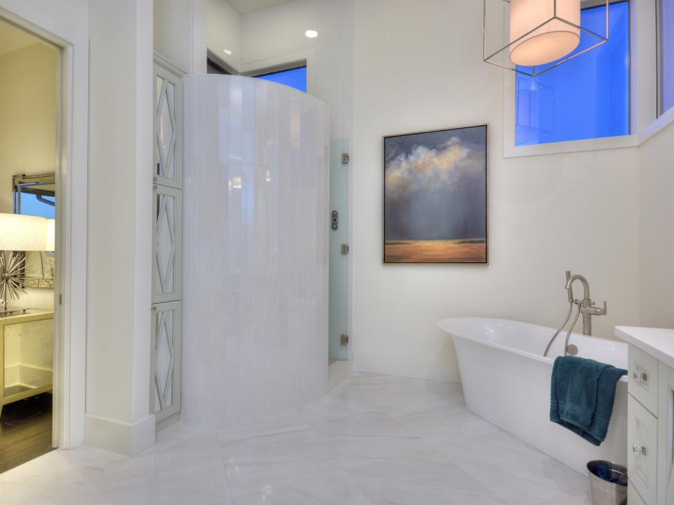 Luxurious Contemporary Bathroom With White Glass Tile Shower