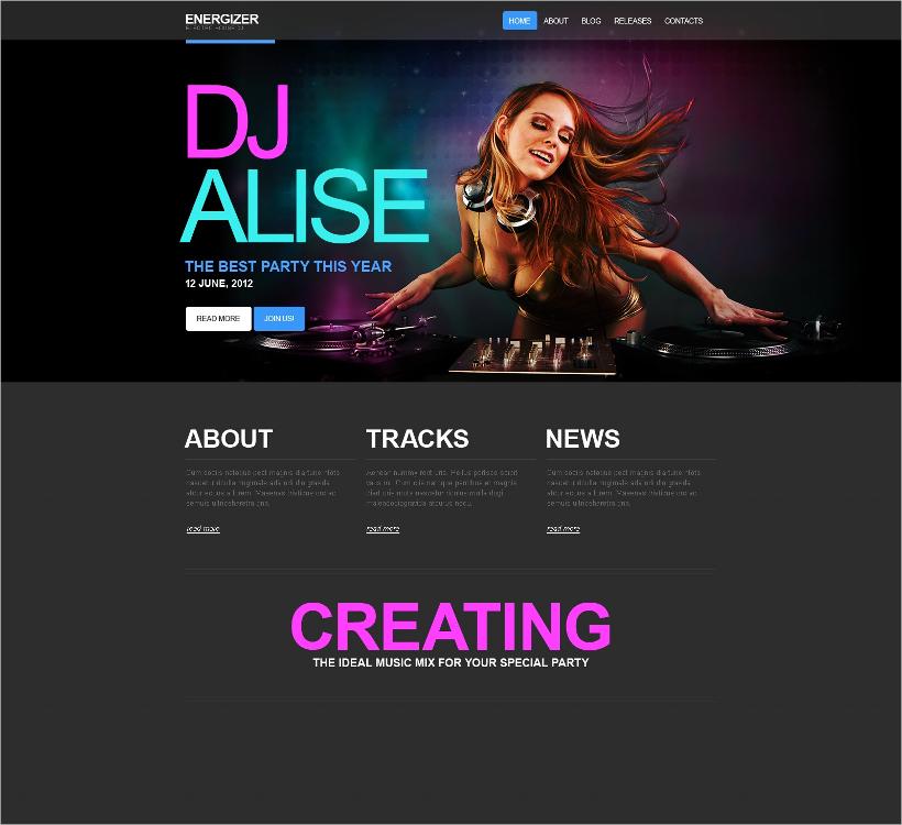 Energetic DJ Website Template
