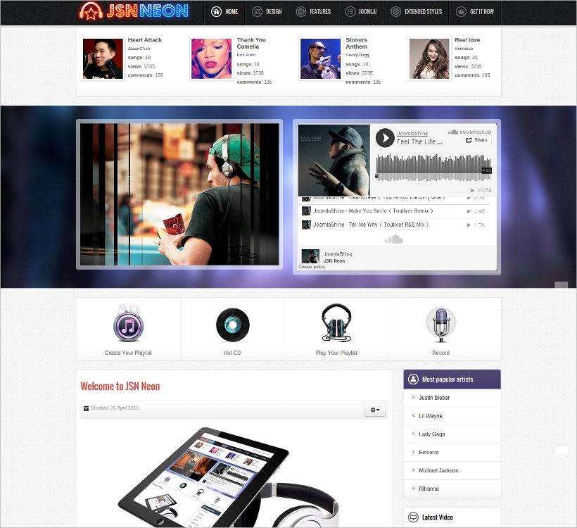 joomla music theme