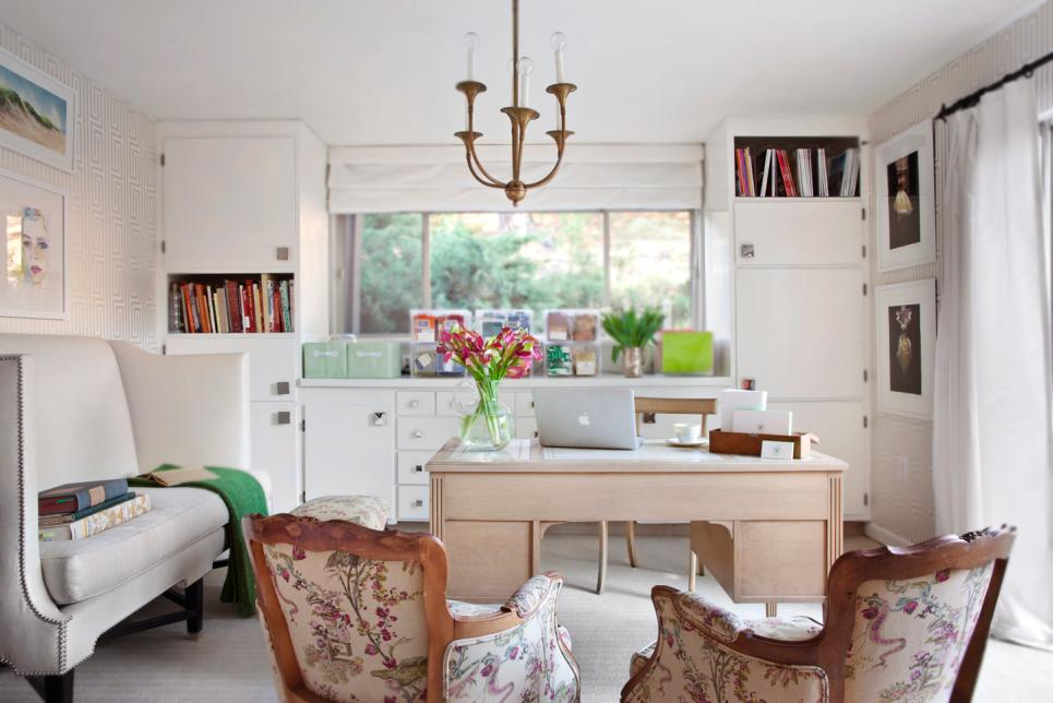 transitional home office with white storage cabinets