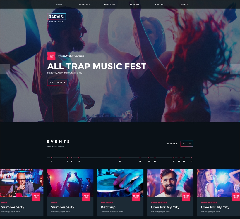 night events website theme