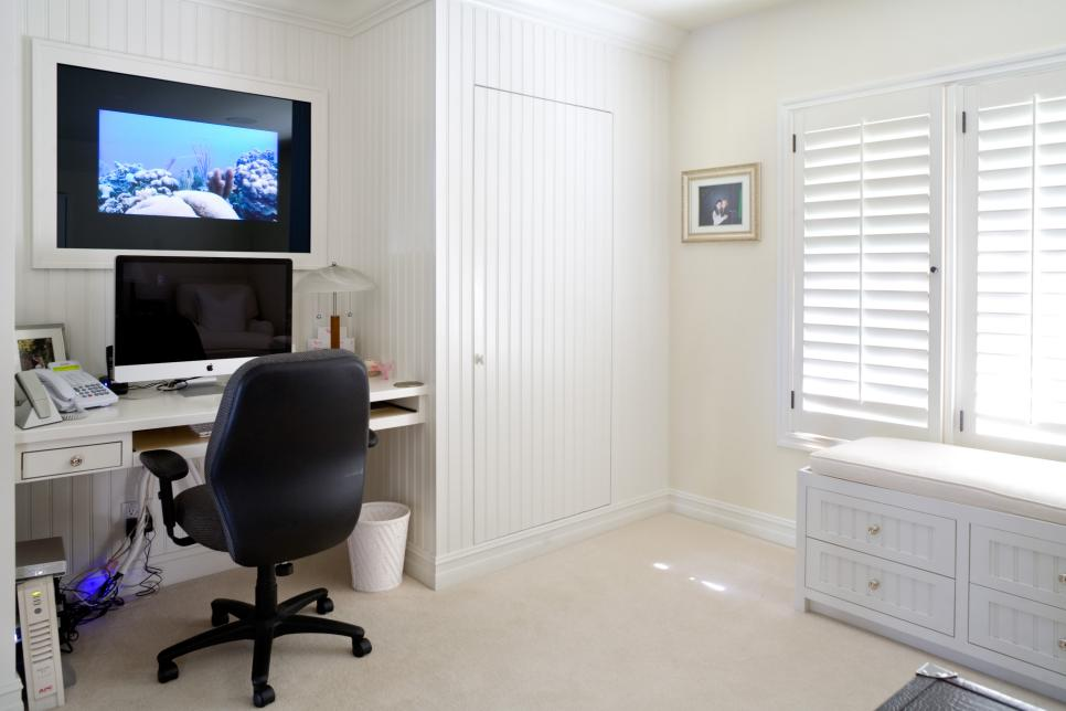 Small Home Office with White Beadboard Wall