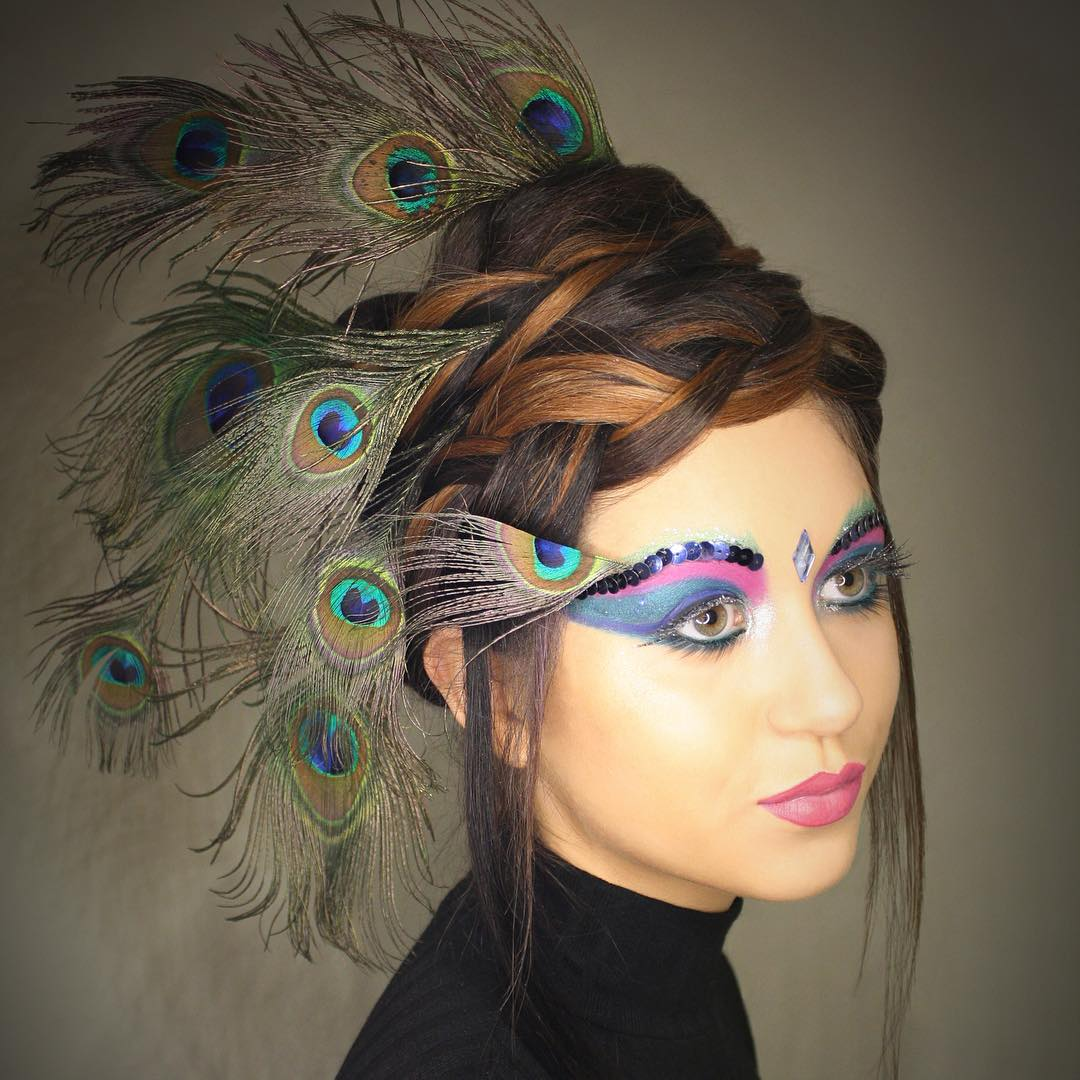 Peacock Makeup Design For Catwalk.