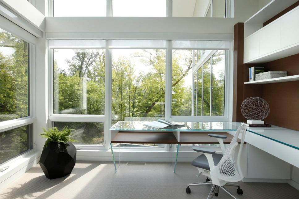 White Modern Home Office with Glass Desk