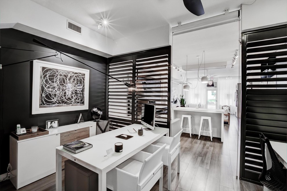 awesome home office with black and white wood design