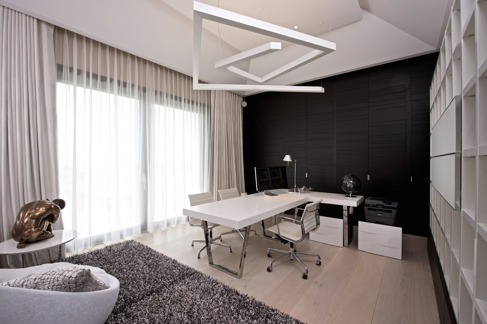 Black Cupboard with White Wall Office Design