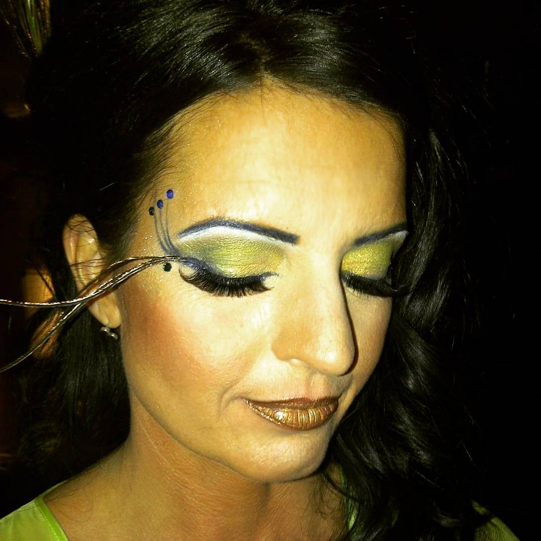 Glitter Peacock Makeup Design Art