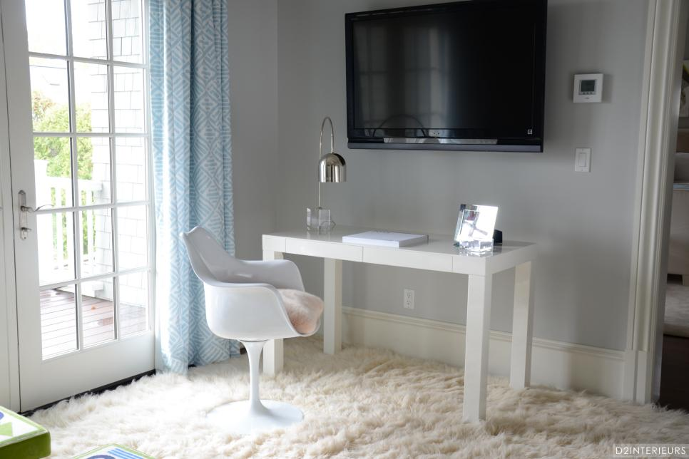 home office with white furniture