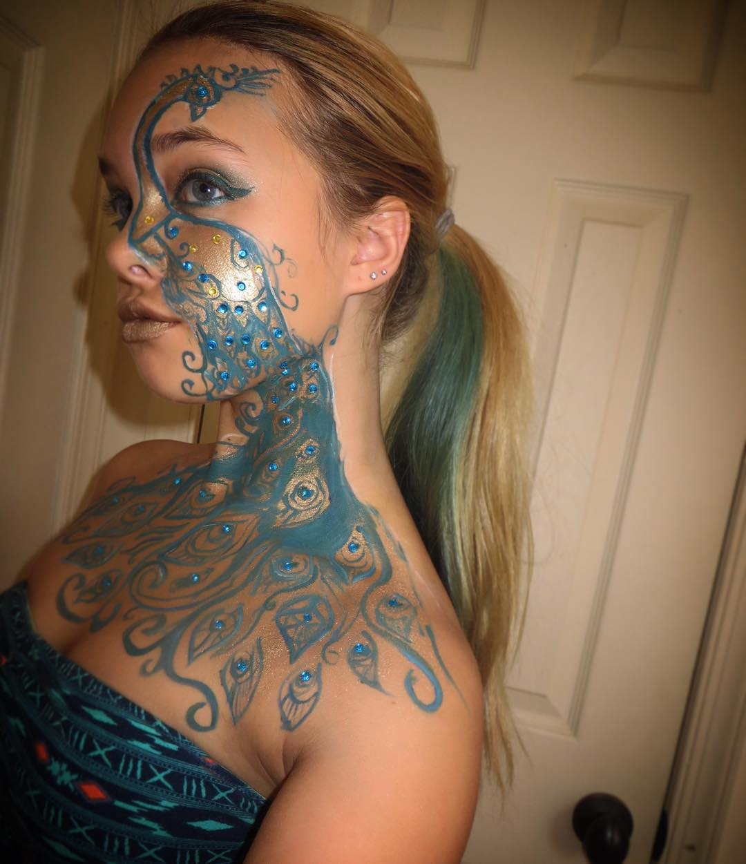 Peacock Face Paint Design For Girls