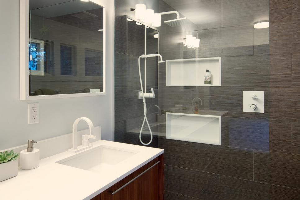 Midcentury Modern Bathroom Features Sleek Shower