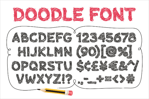 cool cartoon doodle font
