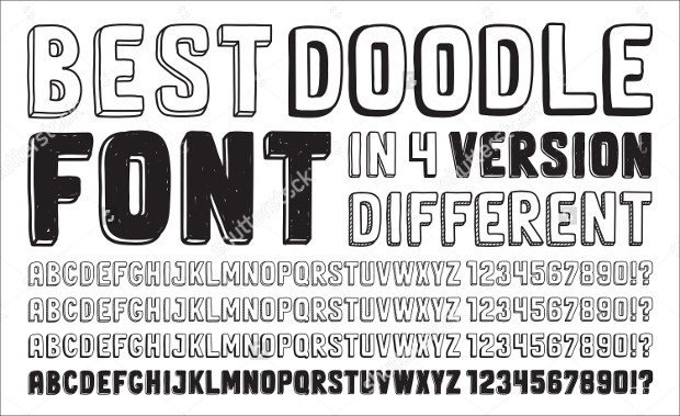 4 versions hand drawn doodle fonts