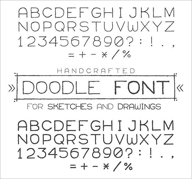 doodle font style for numerals and alphabets