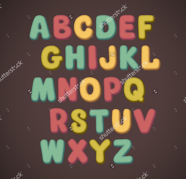 colorful hand drawn doodle font
