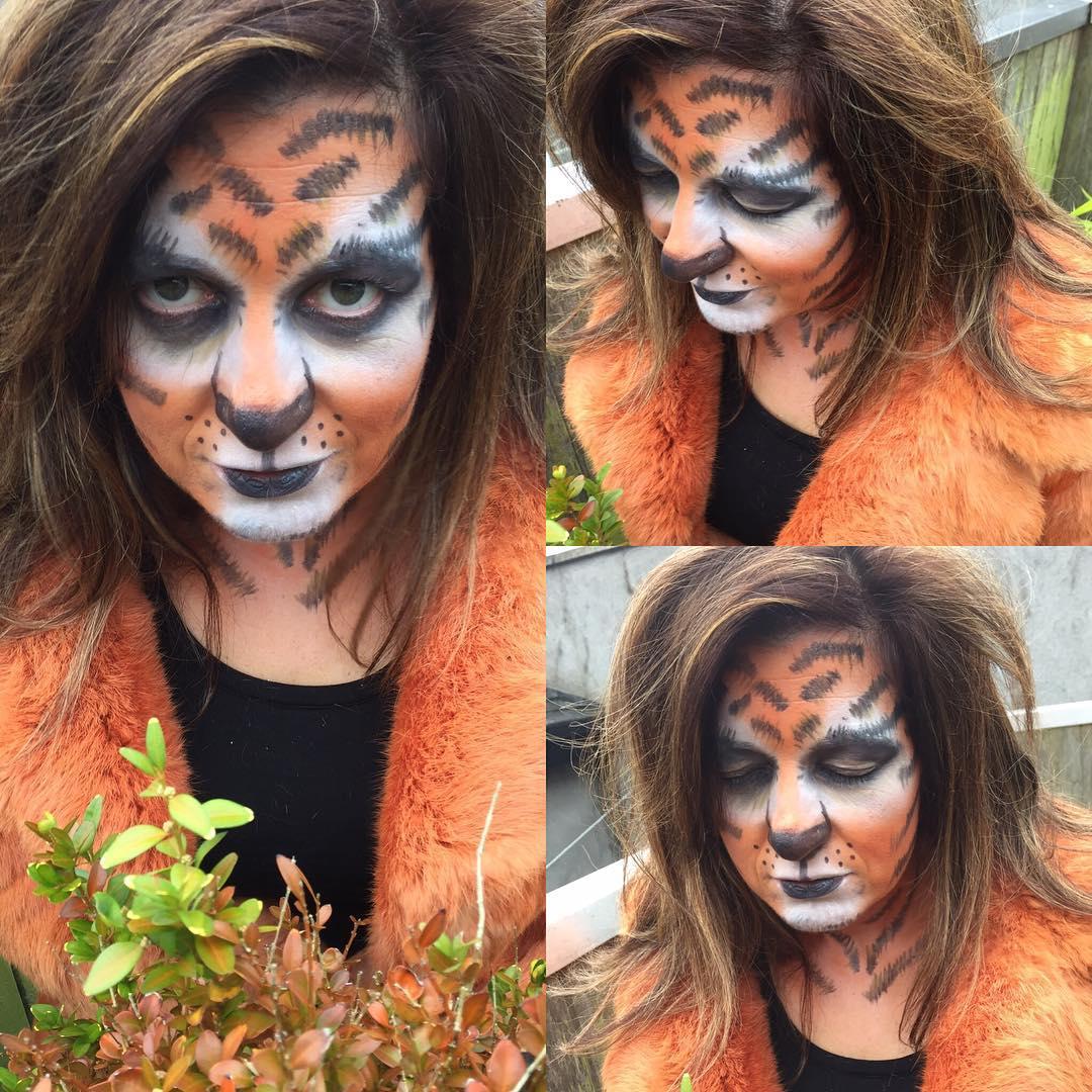 tiger funny lady makeup design idea