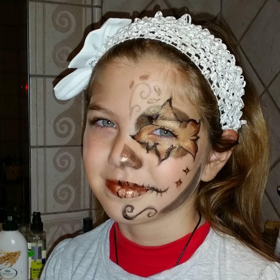funny glitter makeup art for kids