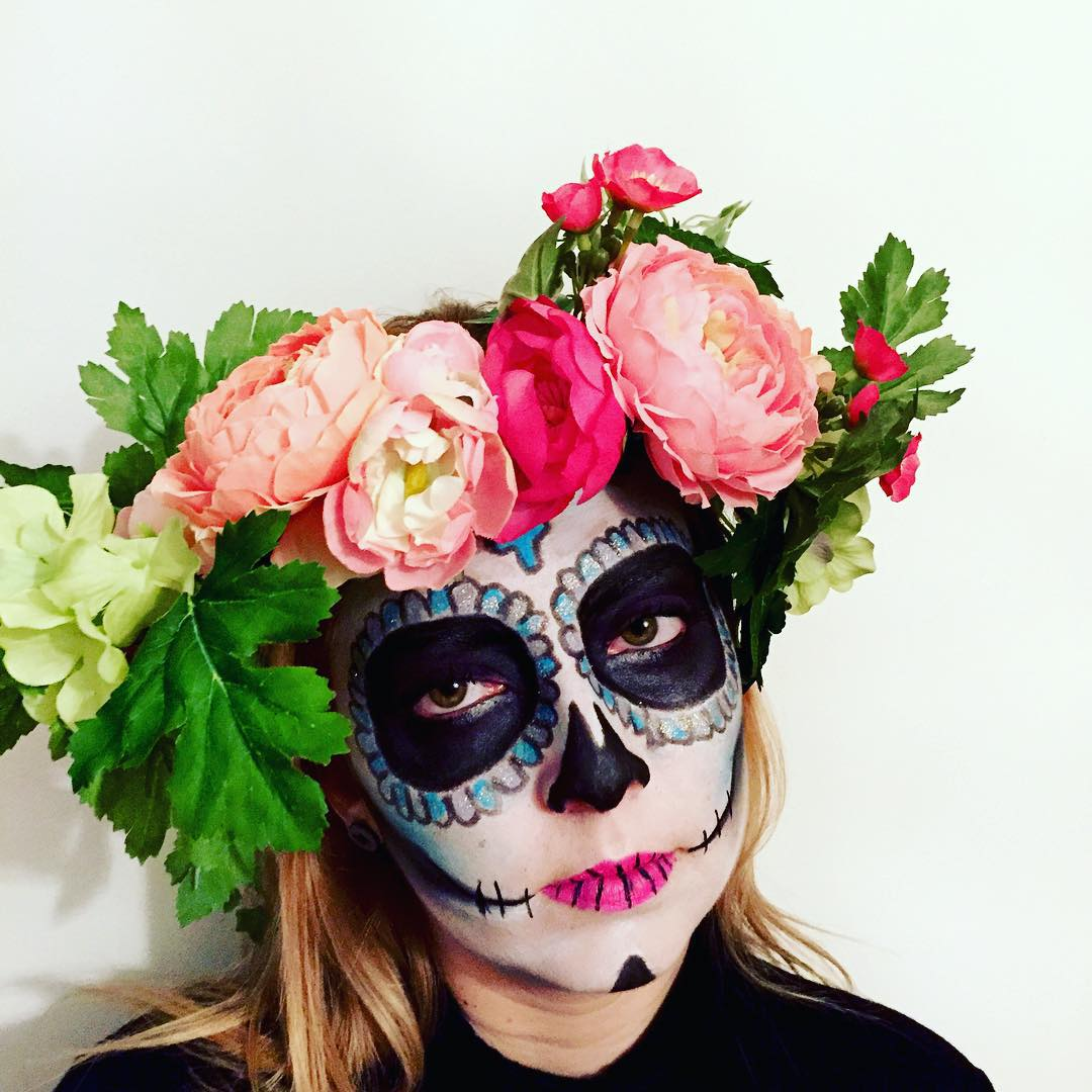 Girl Funny Makeup With Flowers On Head