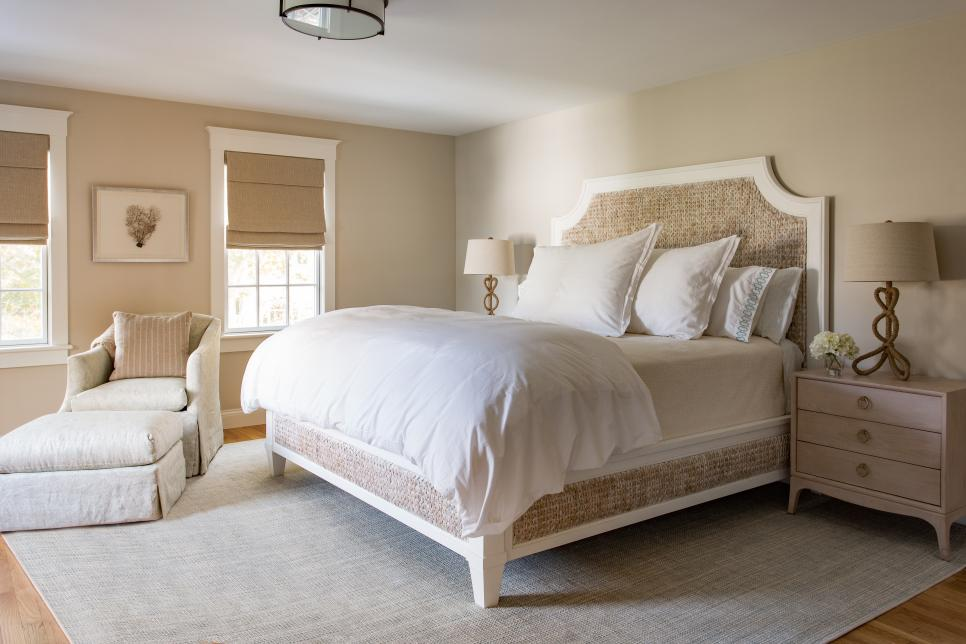 Pretty Coastal Bedroom with Seagrass Bed Frame