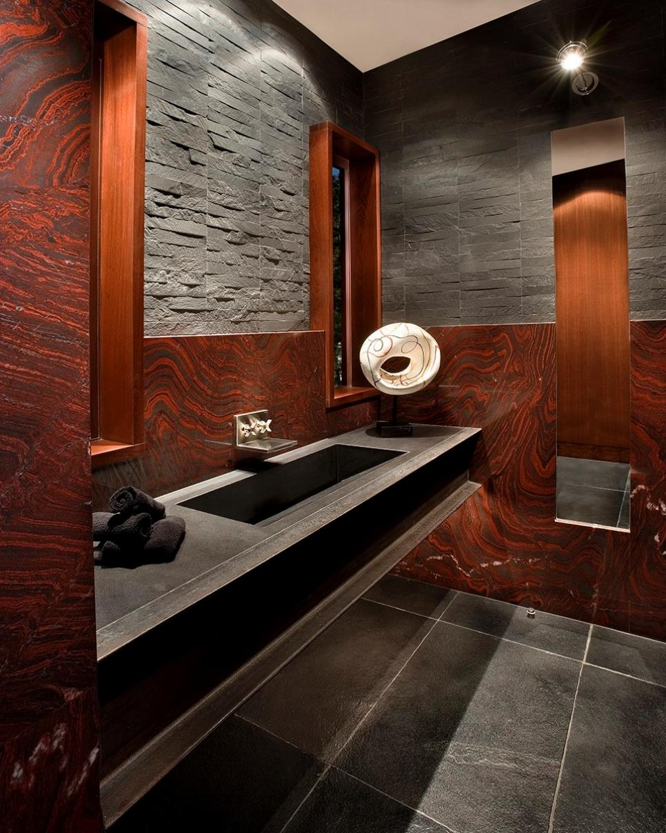 striking red gray bathroom with black floating vanity