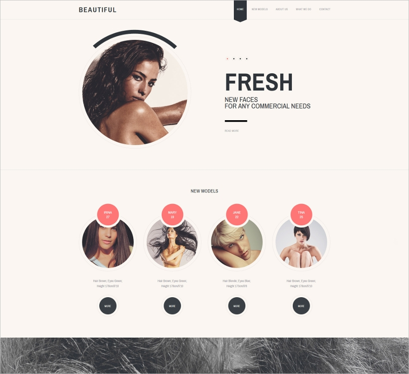 model agency parallax website template