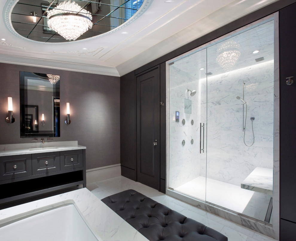 contemporary charcoal master bathroom