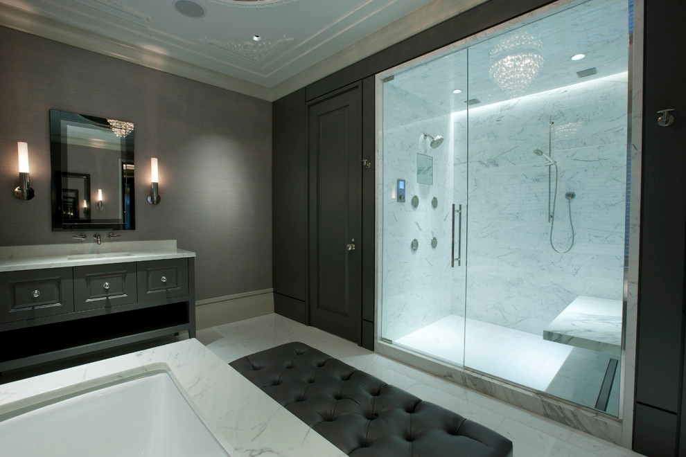modern charcoal grey bathroom