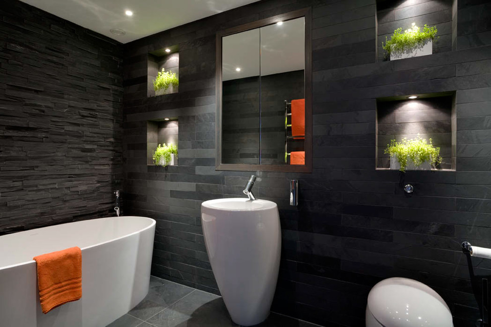 Bright Grey Rock Designed Bathroom