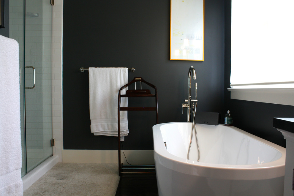 bathroom with white sink and charcoal wall