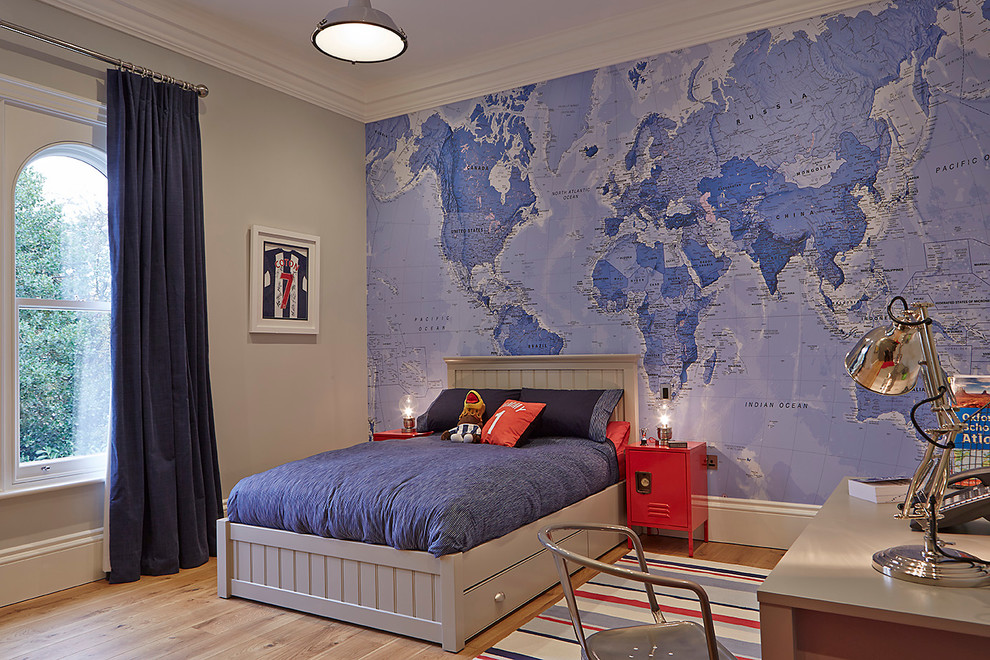 World Map Wall Art Design for Boy's Bedroom