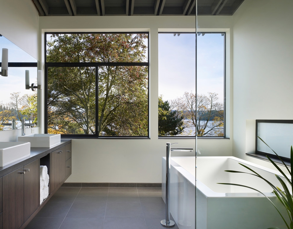 modern charcoal gray bathroom
