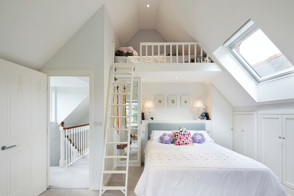 peaceful white bedroom decoration for kids