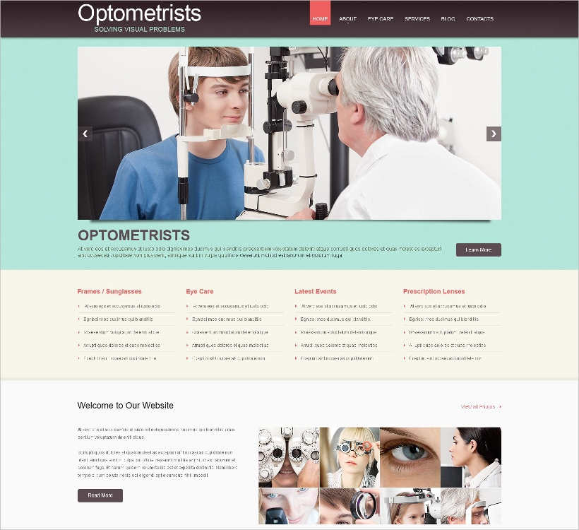 Optometrist's WordPress Template