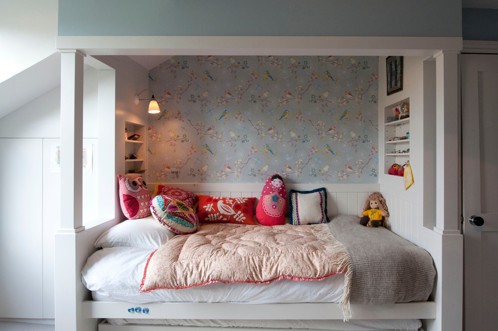 girly bedroom design idea with birds wall art
