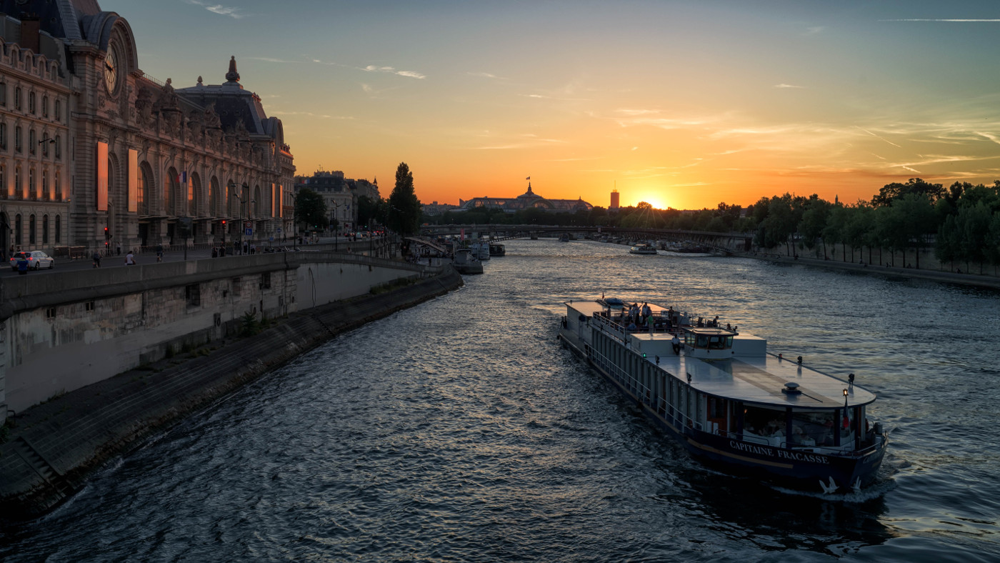 fantastic seine river view paris background
