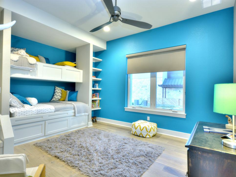 bright blue children room with gray shag rug