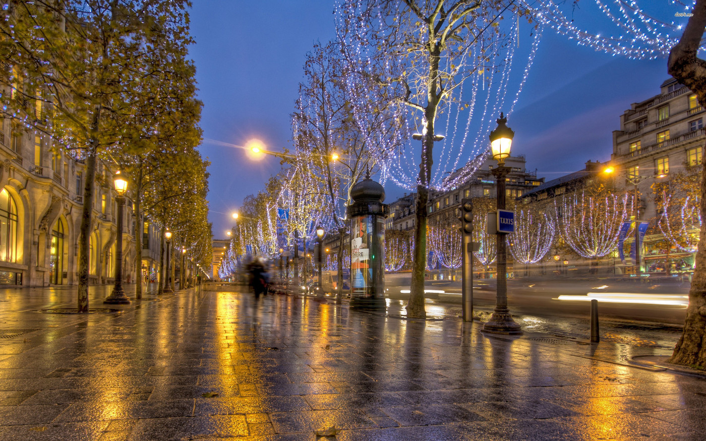 paris background with colorful lights
