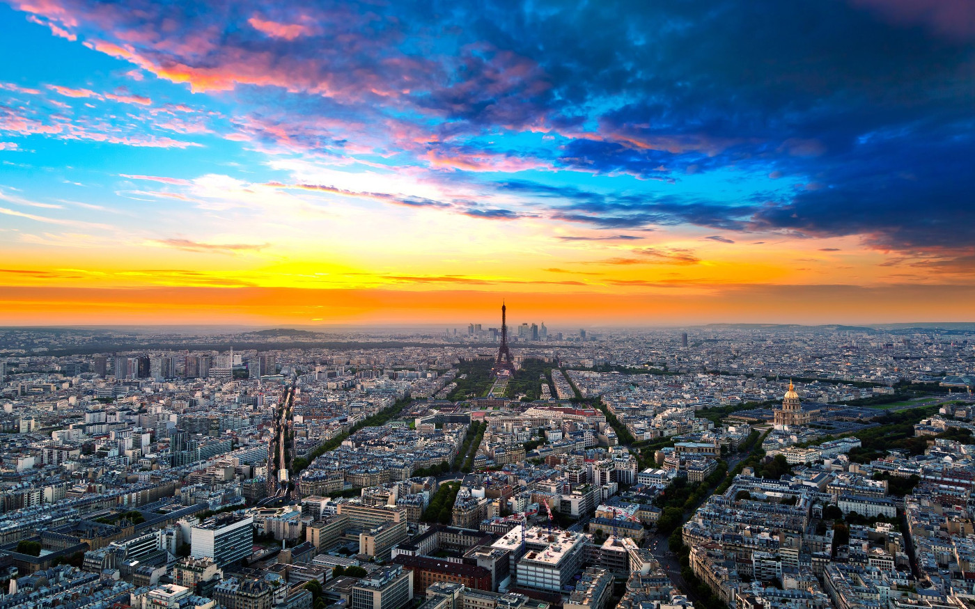 over view of paris city wallpaper