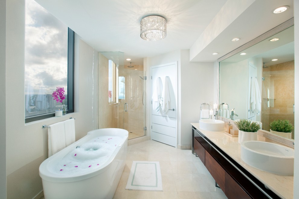 Contemporary Bathroom with Modern Lighting